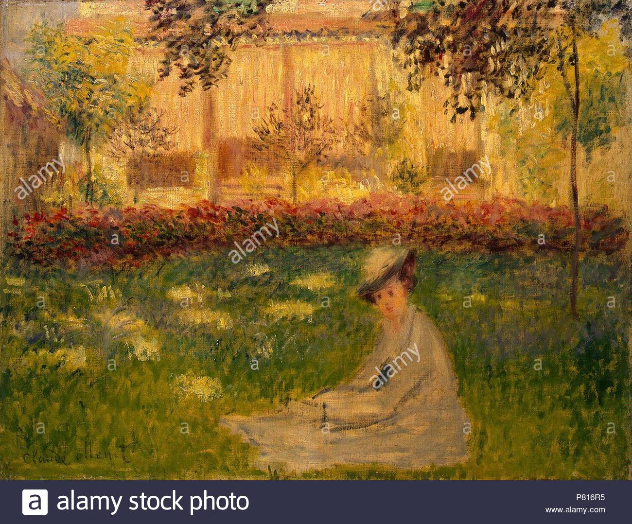 Woman in a Garden. Museum: State Hermitage, St. Petersburg Stock ...