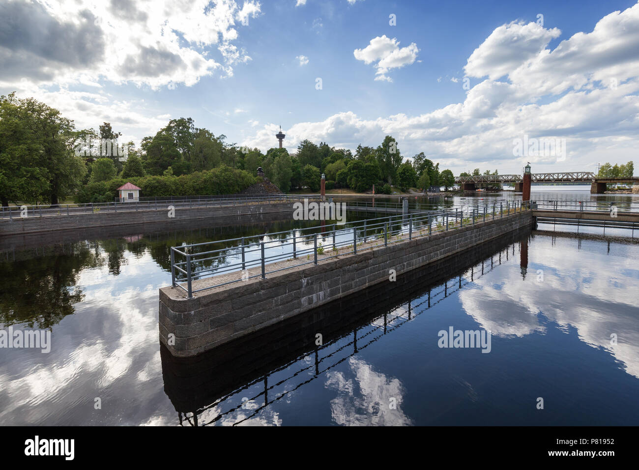 View of the Tammerkoski rapids, parks and Näsinneula observation tower in downtown Tampere, Finland in the summer. Stock Photo