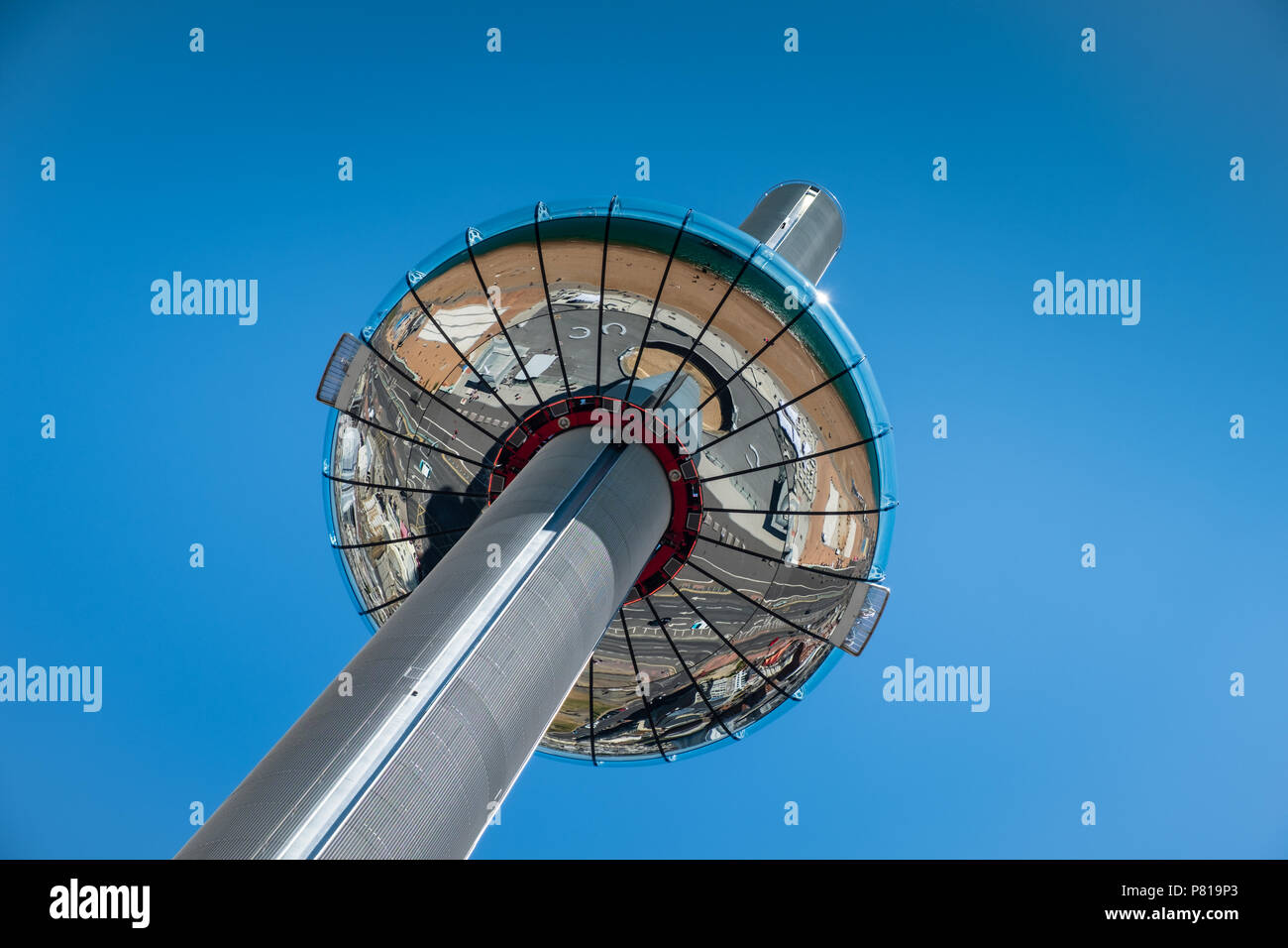 British Airways i360 observation tower on a sunny day with a clear blue sky backdrop with copy space - Stock Image
