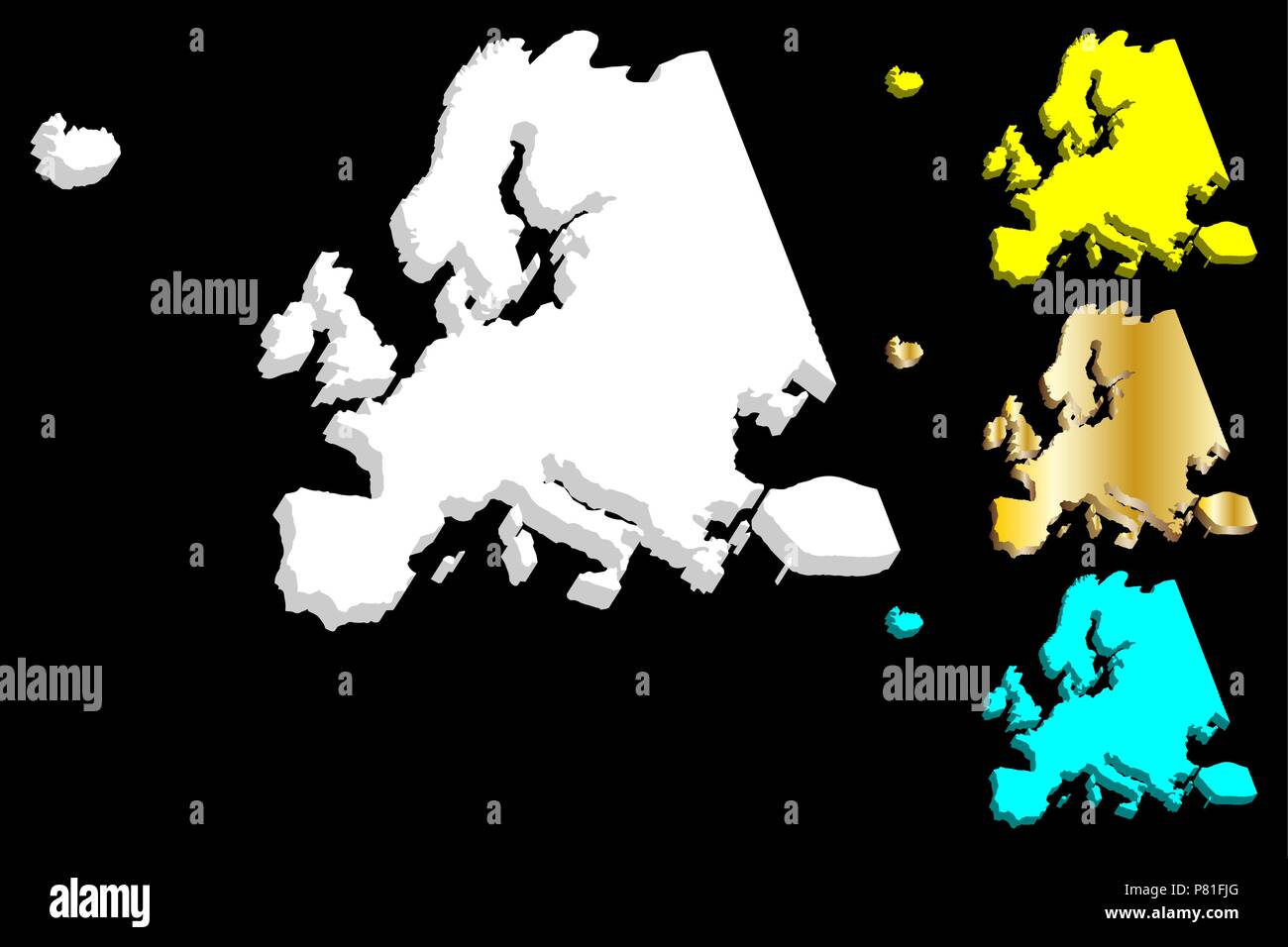3D map of Europe continent - white, gold, blue and yellow - vector illustration - Stock Image
