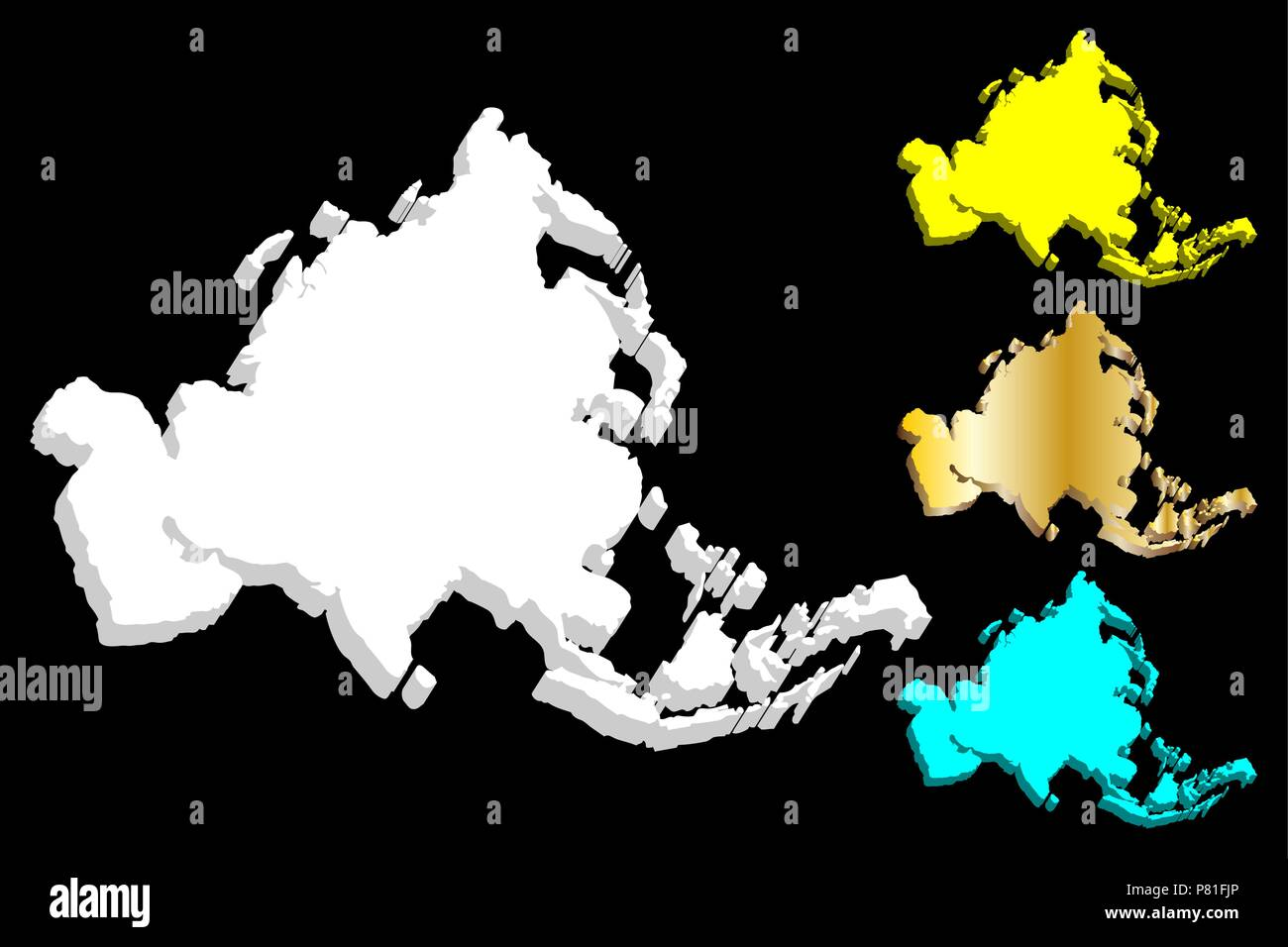 3D map of Asia continent - white, gold, blue and yellow - vector illustration - Stock Vector