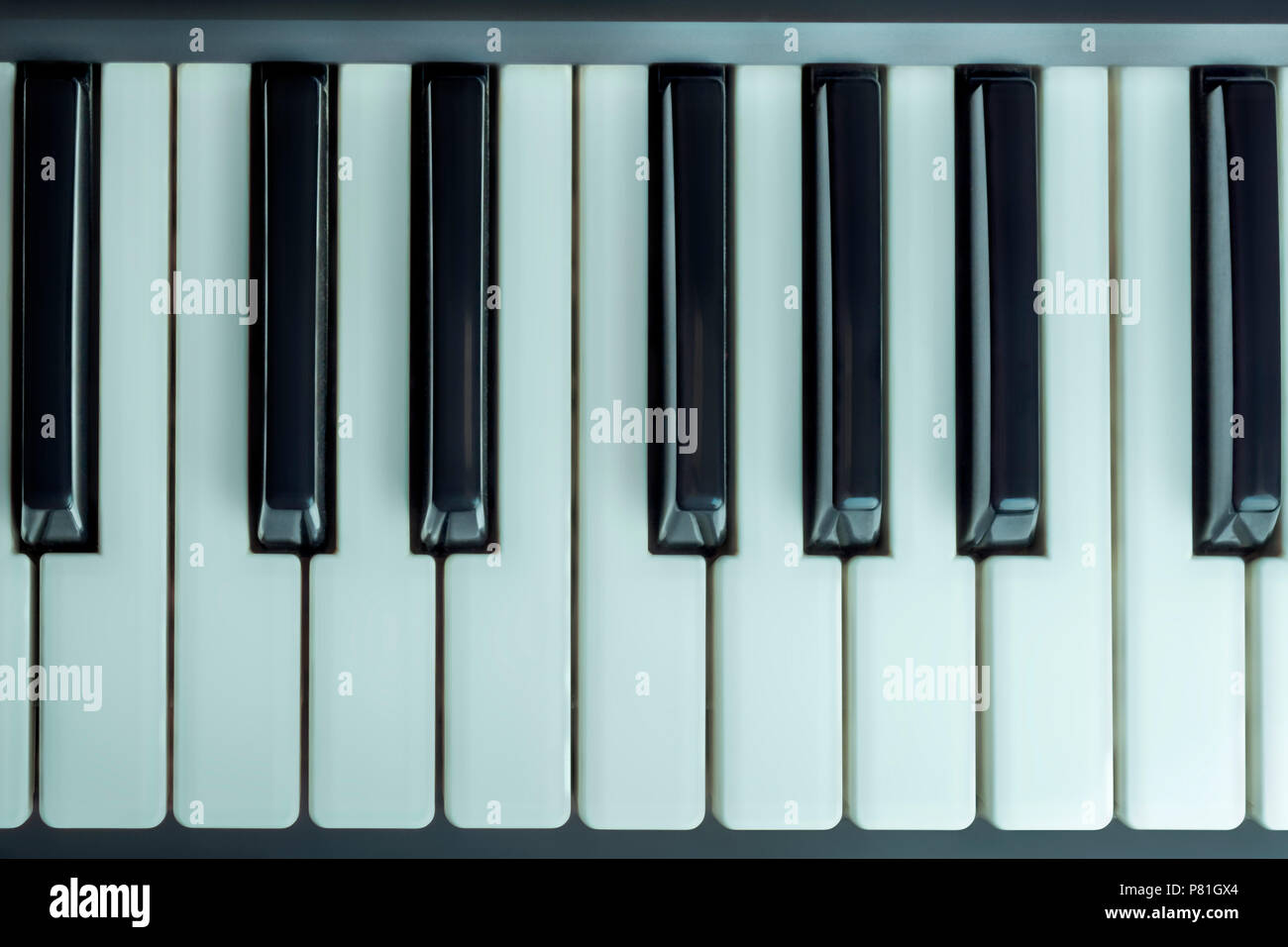 piano keys, top view, full octave - Stock Image