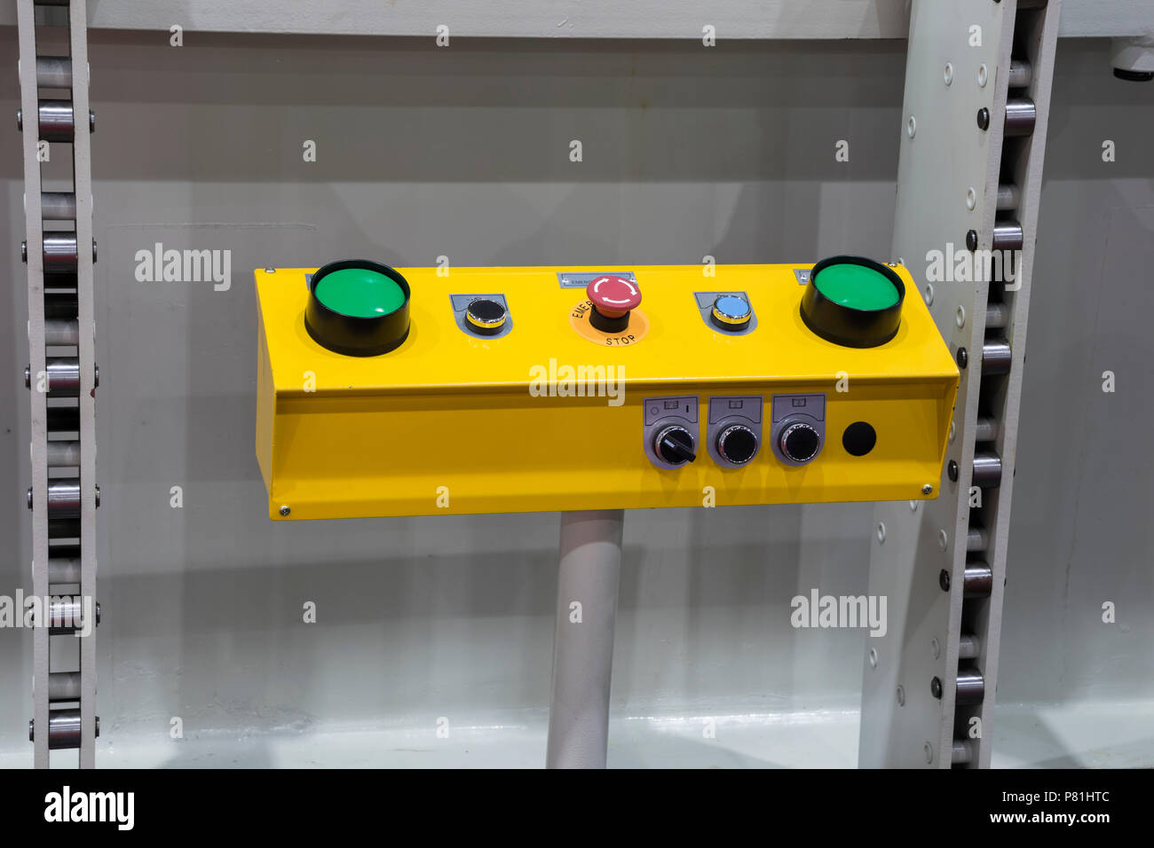 green buttons push switch for forging machine - Stock Image