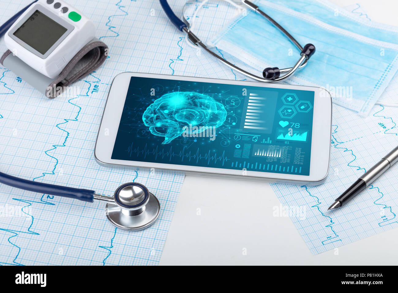 Brain functionality report with medical devices around  Stock Photo