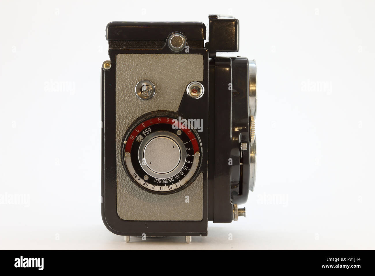 Yashica-44LM from the 1950's side view - Stock Image