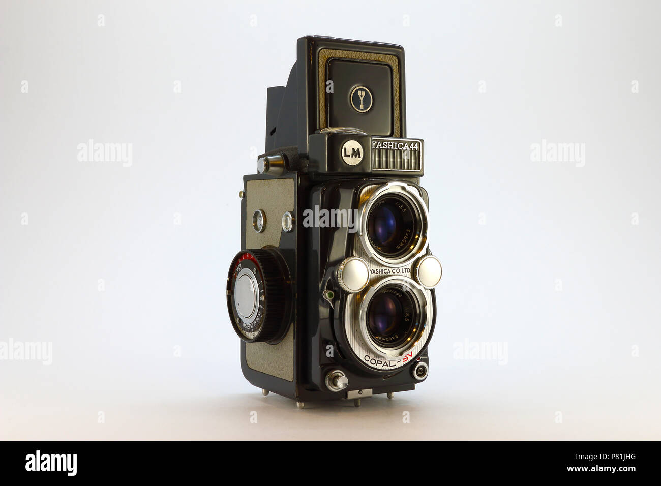 Yashica-44LM from the 1950's top up front view - Stock Image