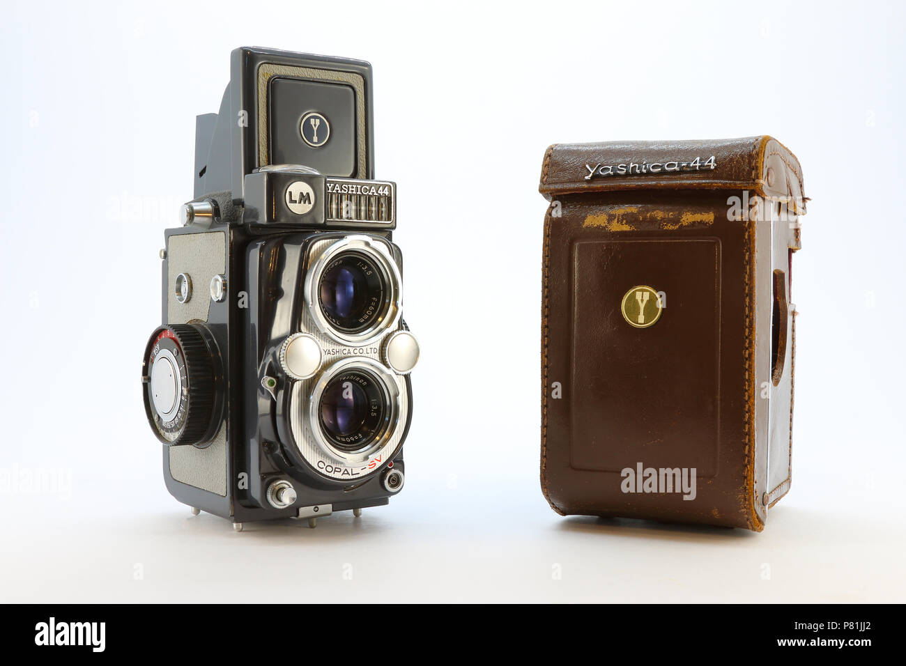 Yashica-44LM from the 1950's with case - Stock Image