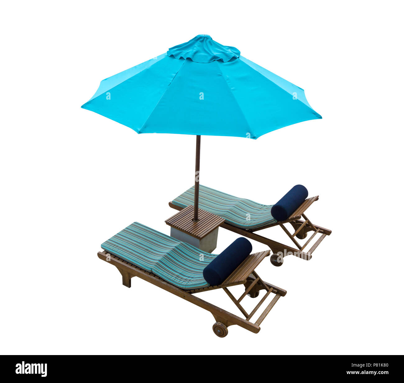 Blue beach chair with umbrella isolated on white background, Summer object for your summer theme concept. - Stock Image