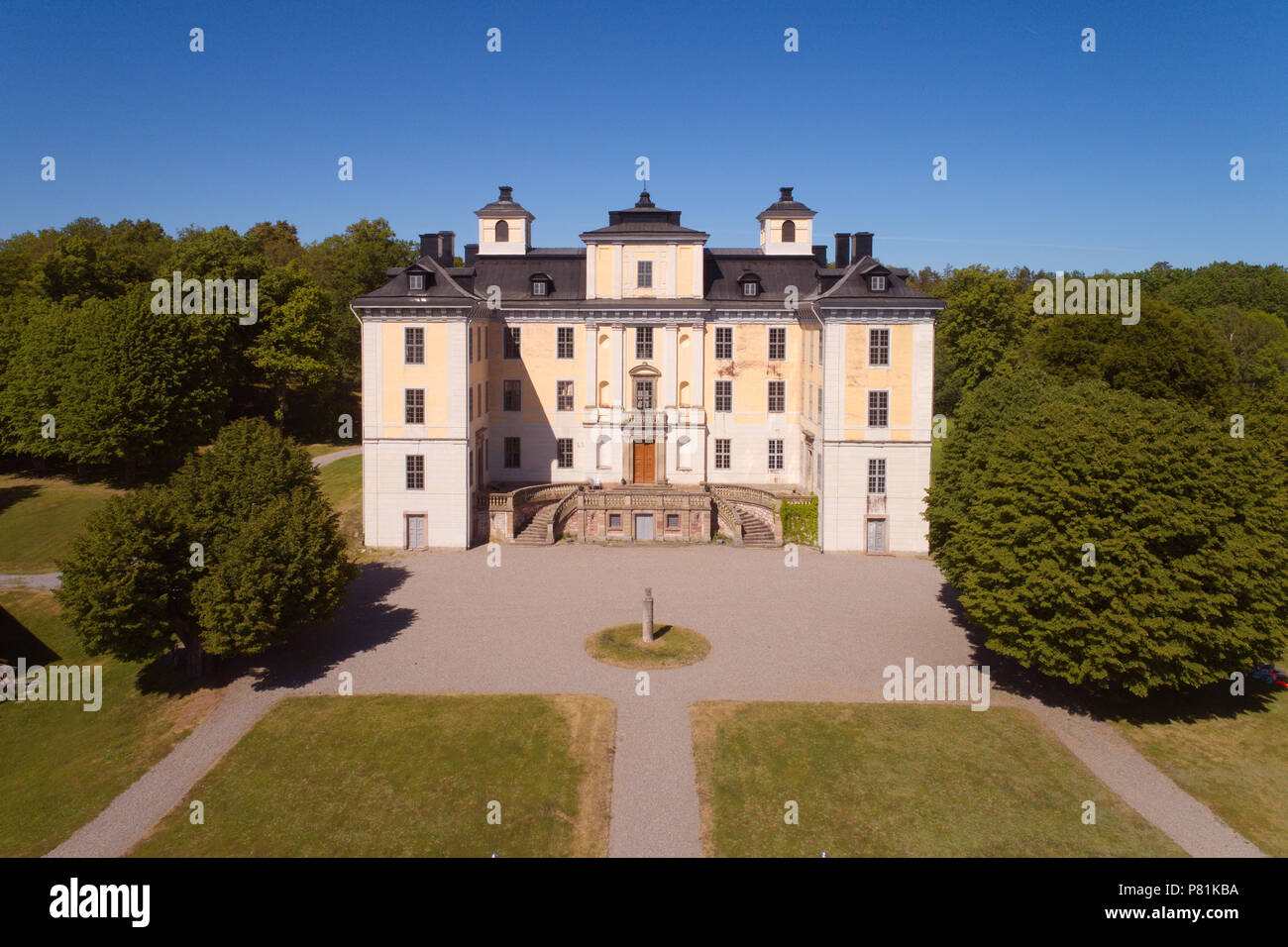 Malsaker, Sweden - May 27, 2018: A high angel view of the Malsaker manor used for training of Norwegian soldiers during WW II. - Stock Image