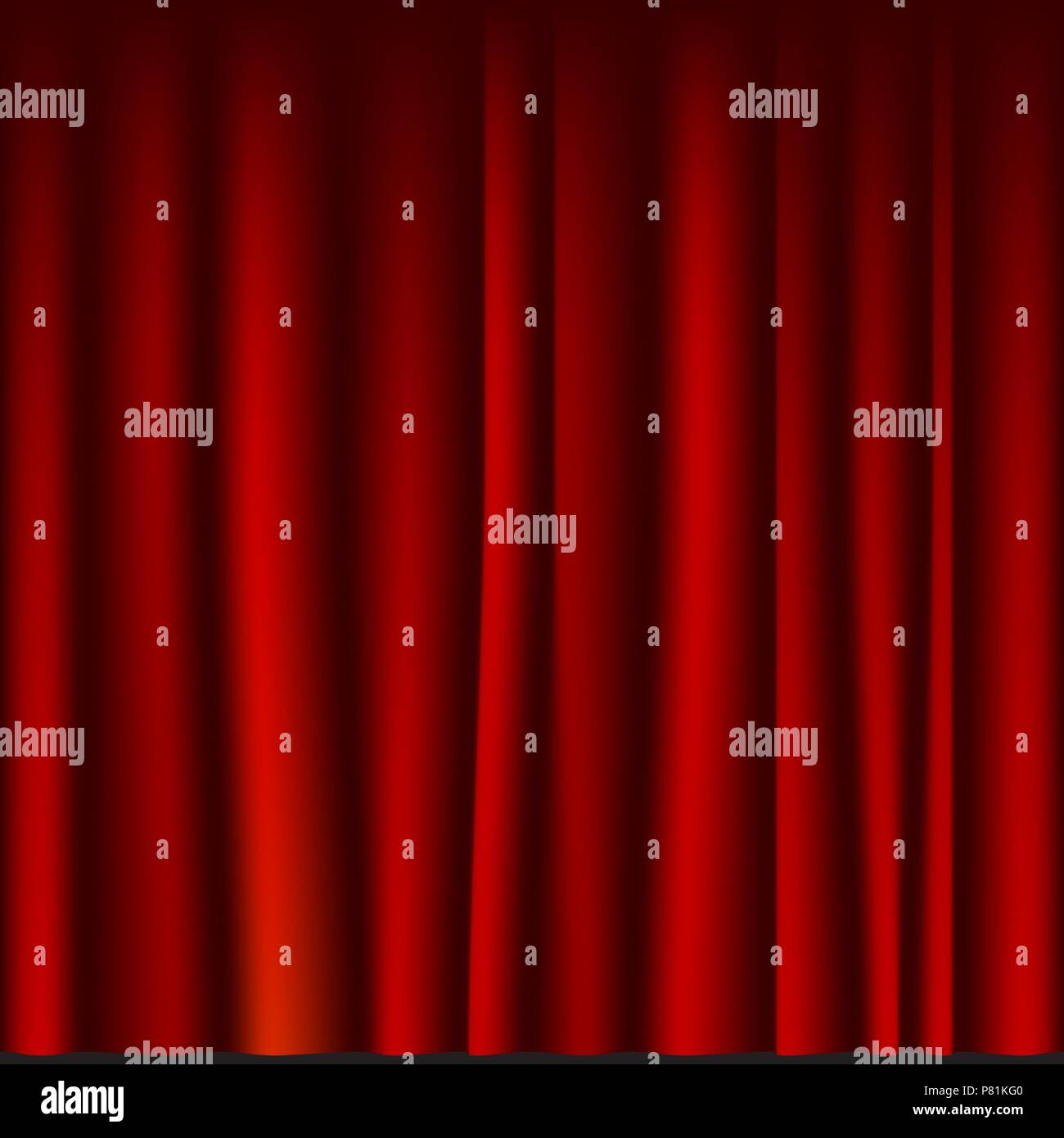 Creases drapery fabric red curtain seamless template. Vector background. - Stock Vector