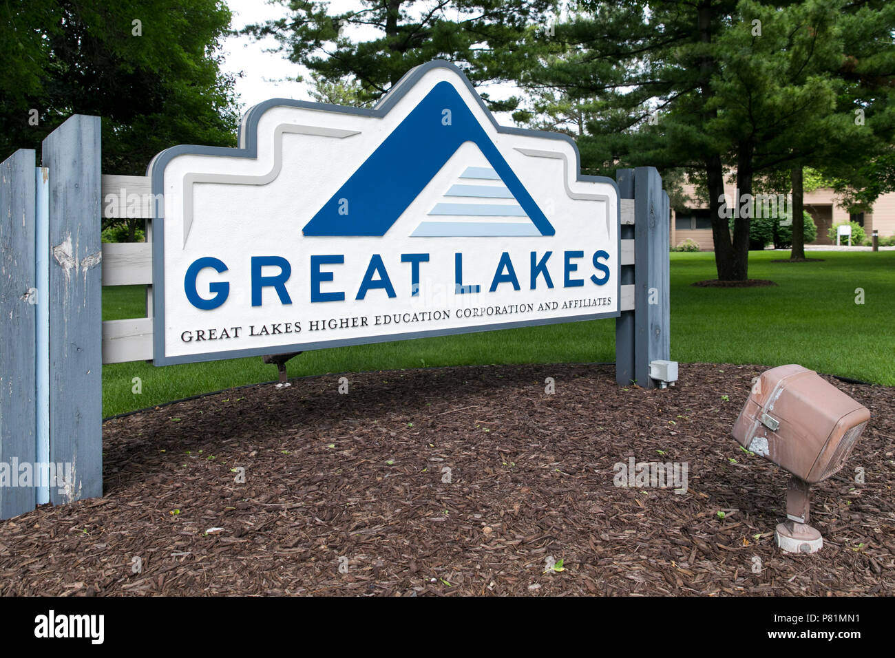 A logo sign outside of the headquarters of the Great Lakes Higher Education Corporation in Madison, Wisconsin, on June 23, 2018. - Stock Image