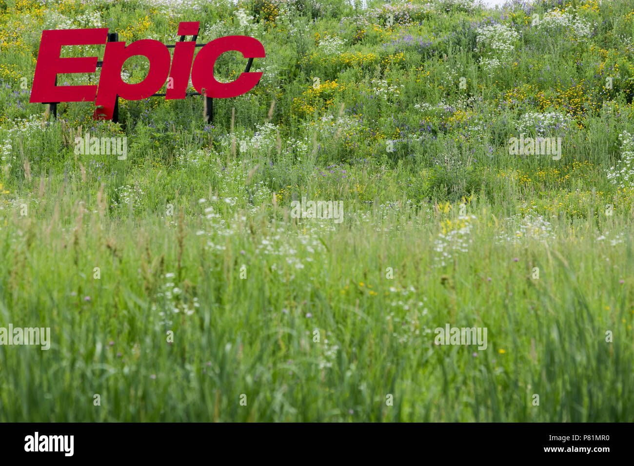 A logo sign outside of the headquarters of the Epic Systems Corporation in Verona, Wisconsin, on June 23, 2018. - Stock Image
