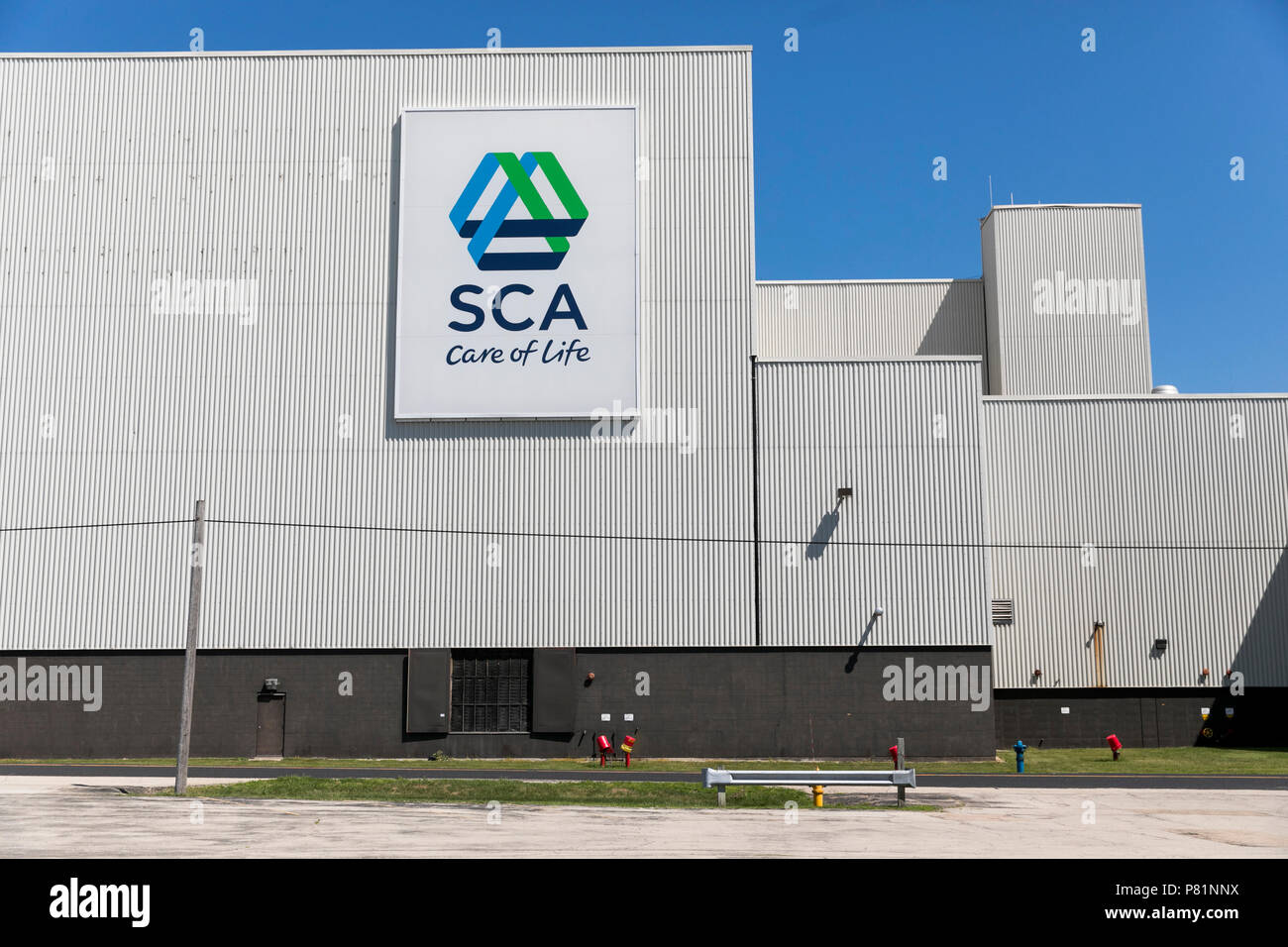 A logo sign outside of a facility occupied by SCA (Svenska Cellulosa) in Neenah, Wisconsin, on June 24, 2018. - Stock Image
