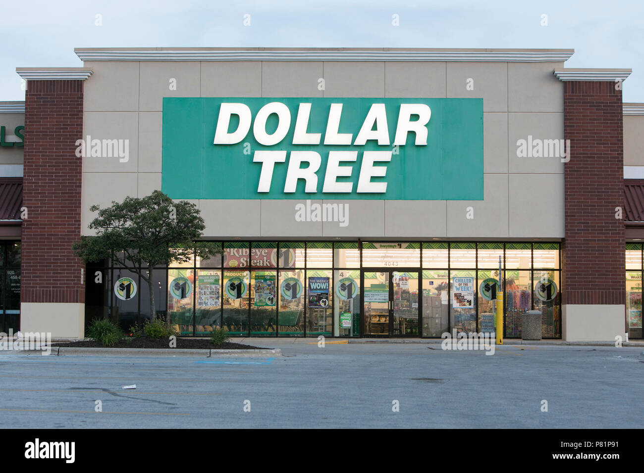 A Logo Sign Outside Of Dollar Tree Retail Store In Sheboygan Wisconsin On