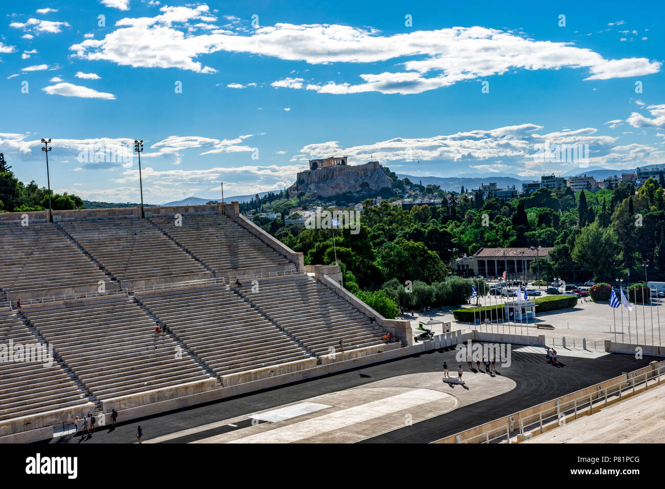 Panathenaic stadium with acropolis view, with clouds in the sky, Athens, Greece Stock Photo