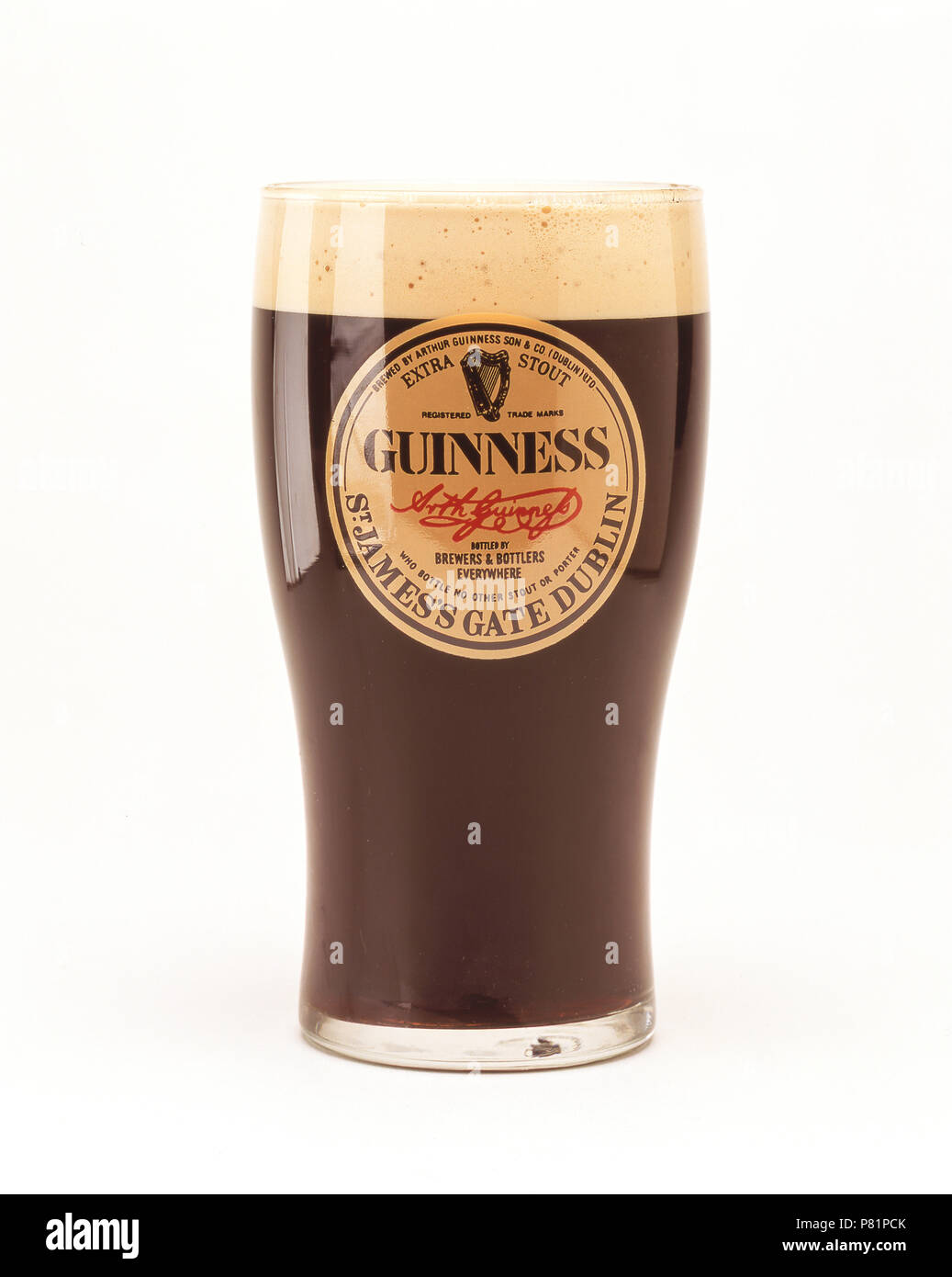 A pint of Guinness stout beer, Temple Bar, Dublin, Leinster Province, Republic of Ireland - Stock Image
