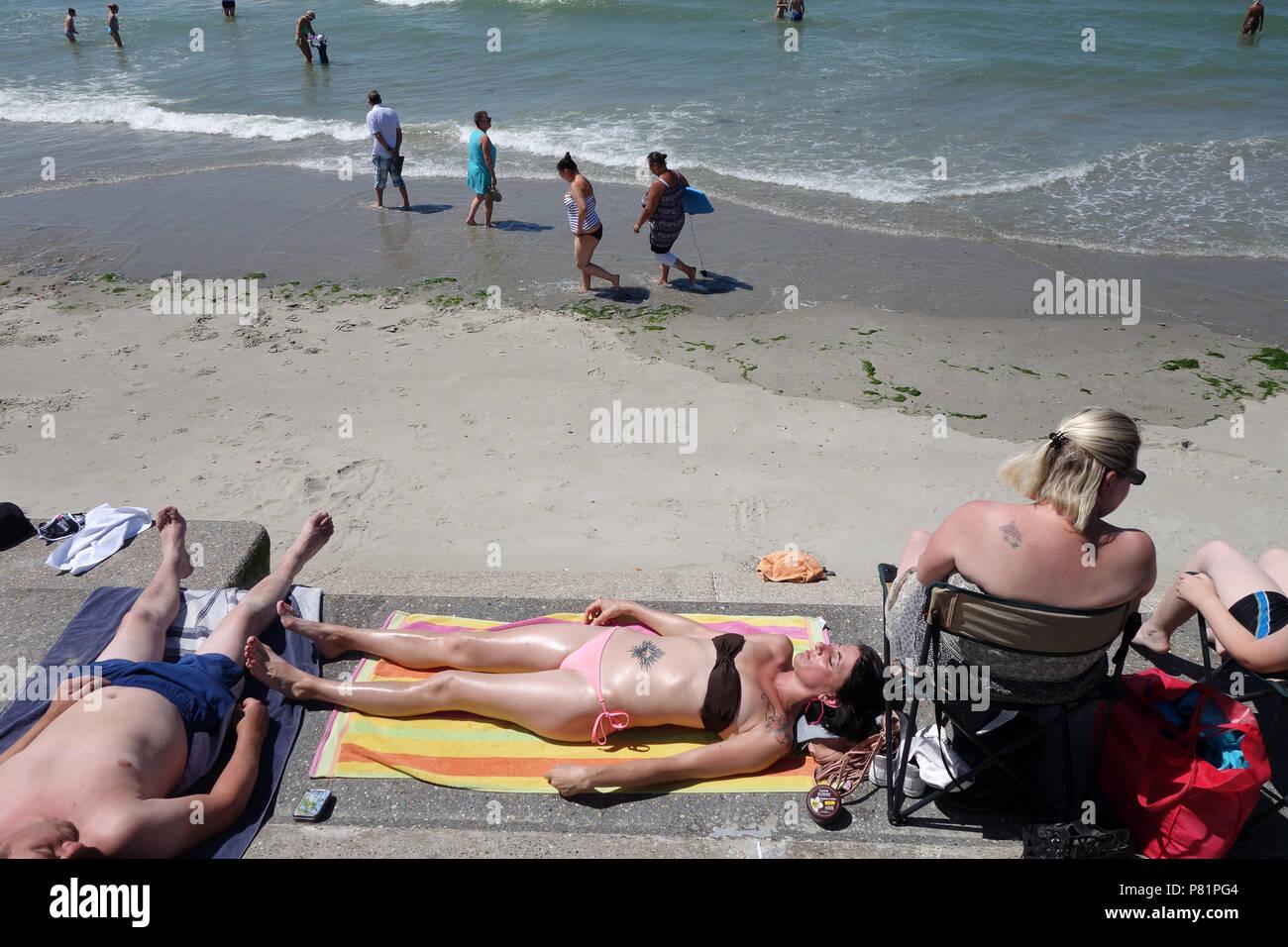 The beach Wimereux in the Pas-de-Calais department in the Hauts-de-France region of France. - Stock Image