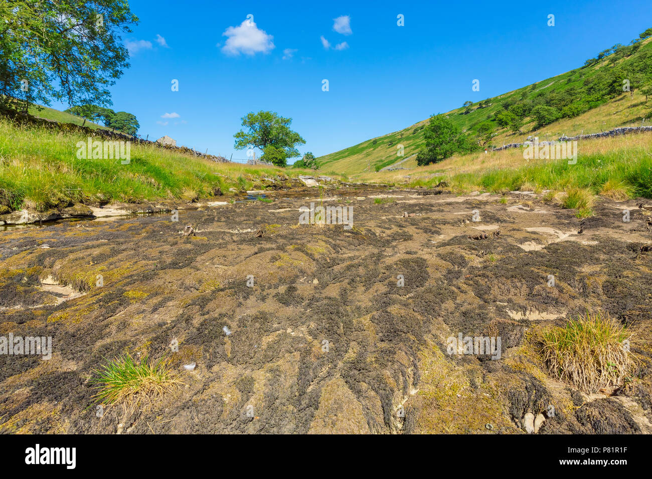 River Wharfe at Hubberholme, Near Kettlewell in the Yorkshire Dales, England UK, almost dried up due to continued heat wave and lack of rain. - Stock Image