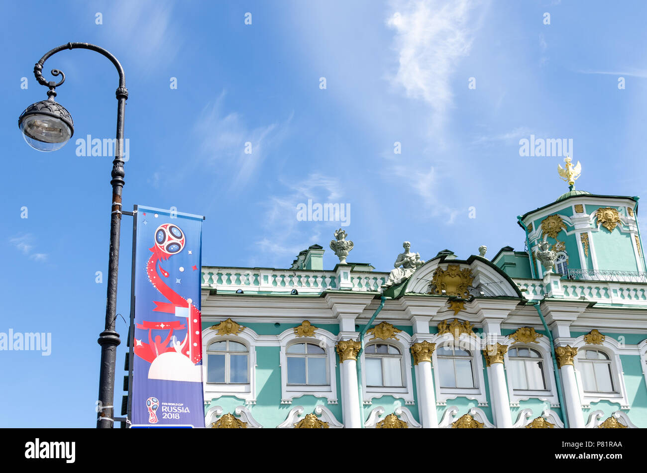 Official FIFA World Cup 2018 banner by the Winter Palace and Hermitage Museum in St Petersburg, Russia - Stock Image