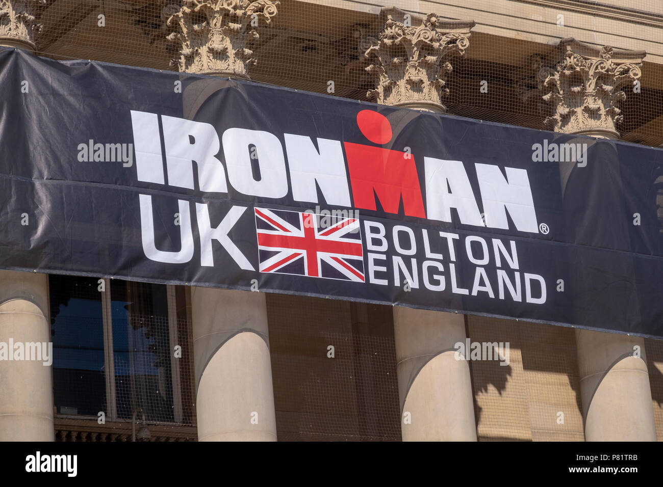 Ironman sign on bolton town hall Stock Photo