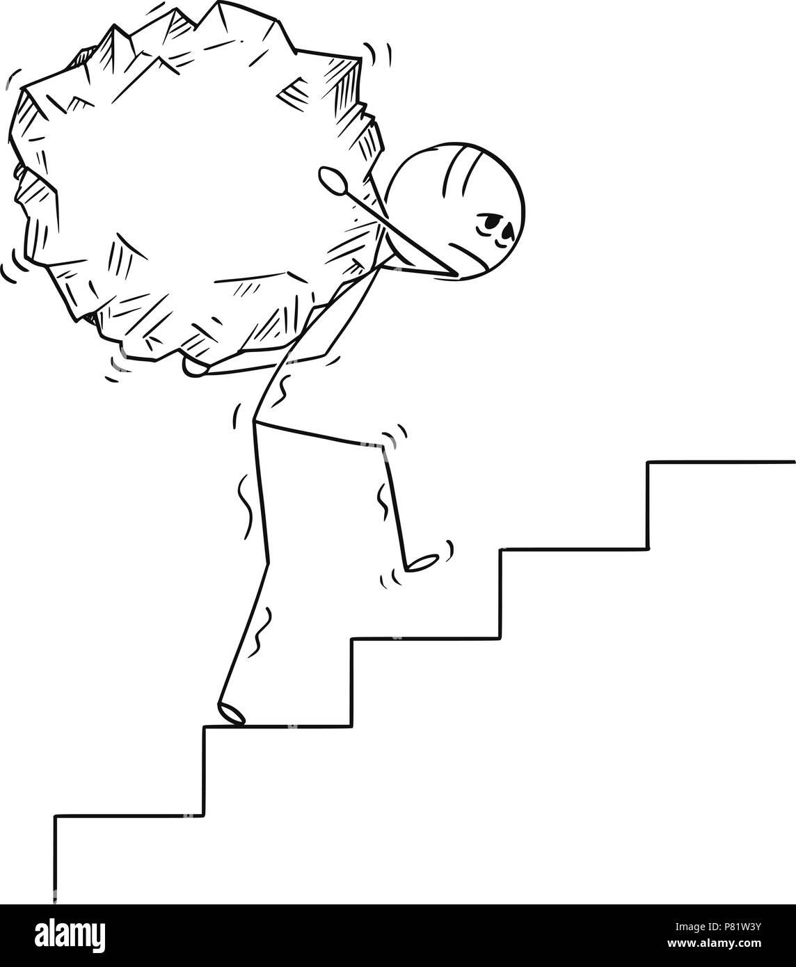 Cartoon of Man Carrying Big Piece of Rock Upstairs - Stock Image