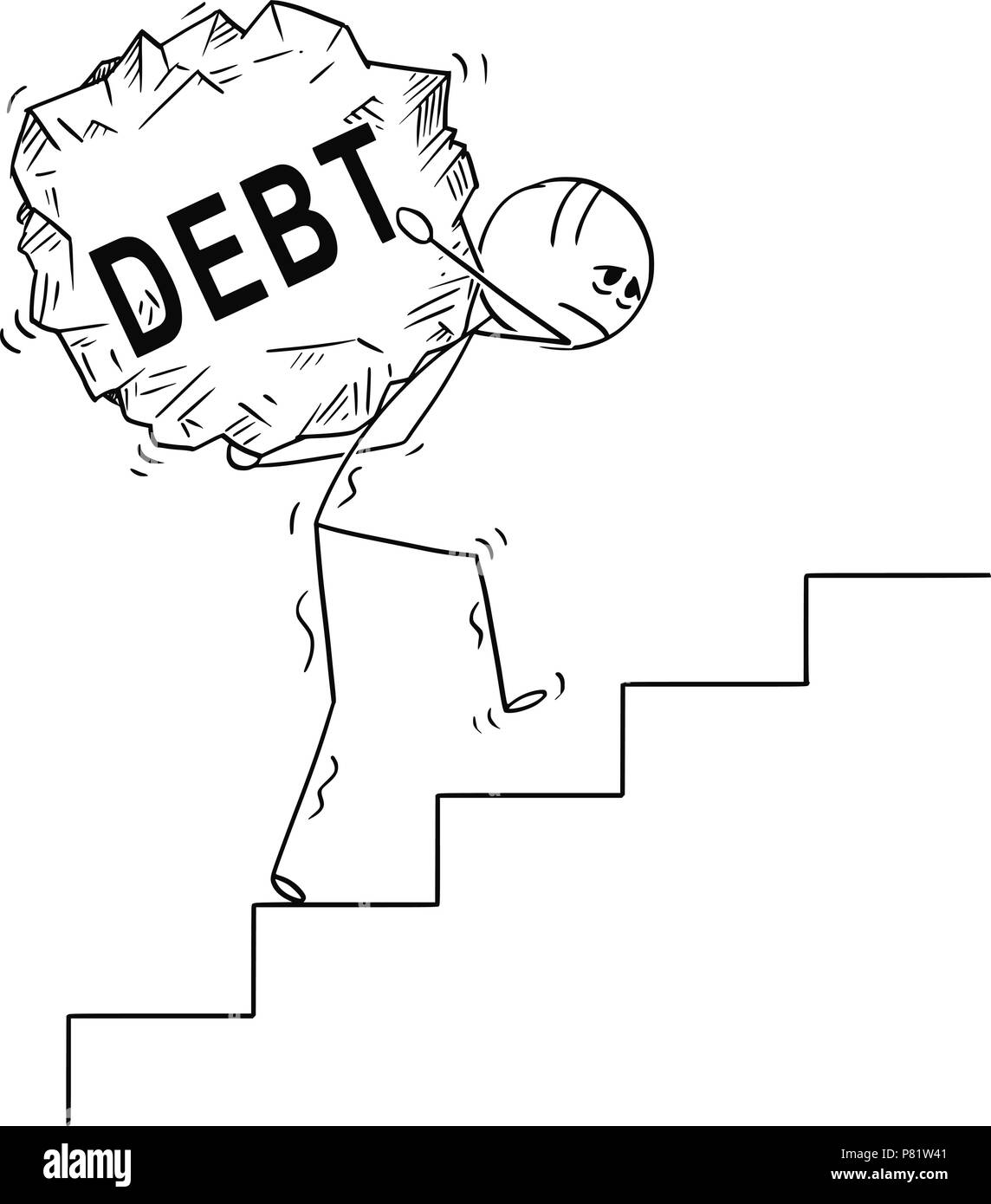 Cartoon of Man Carrying Big Piece of Rock With Text Debt Upstairs - Stock Image
