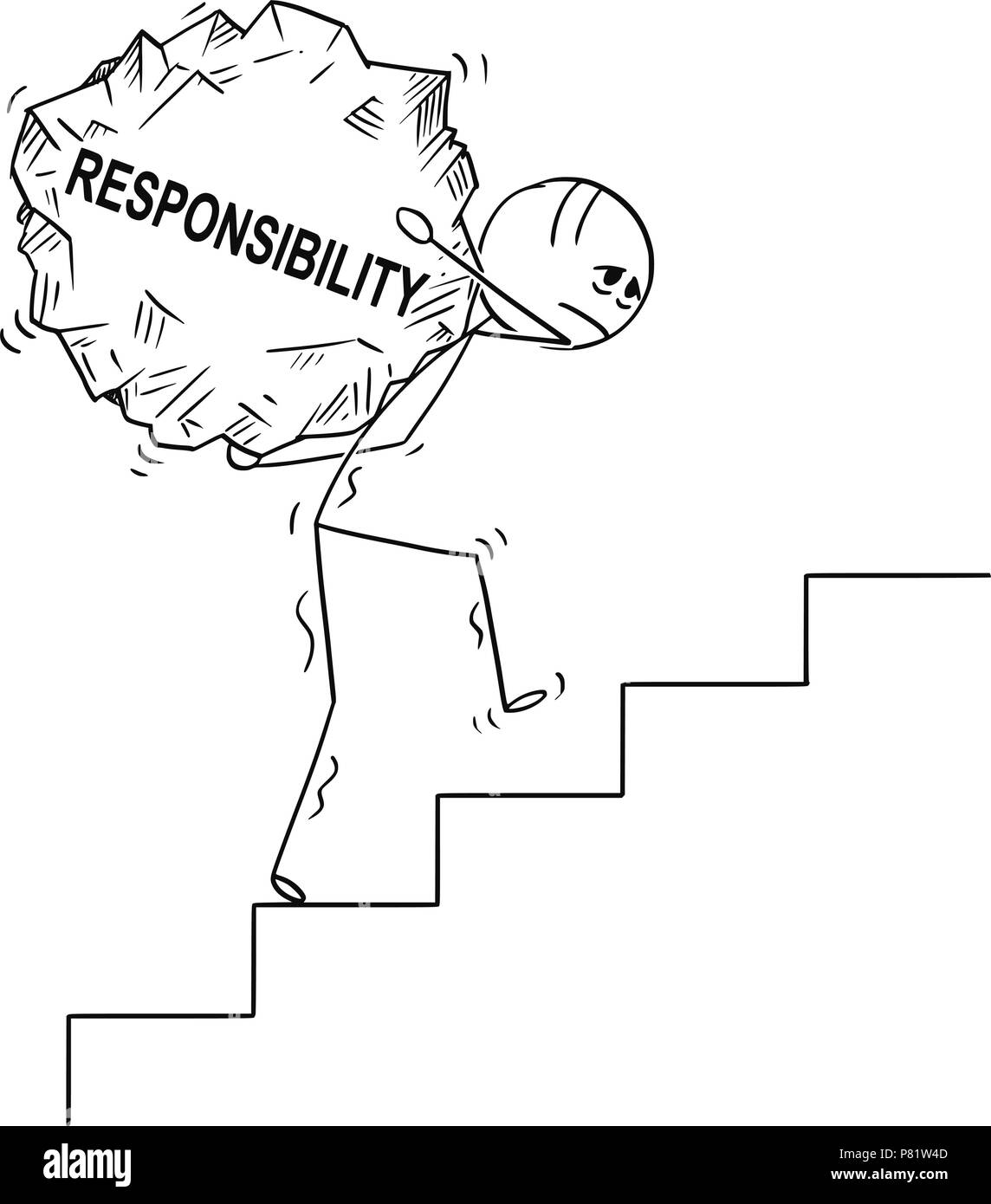 Cartoon of Man Carrying Upstairs Big Piece of Rock With Text Responsibility - Stock Image