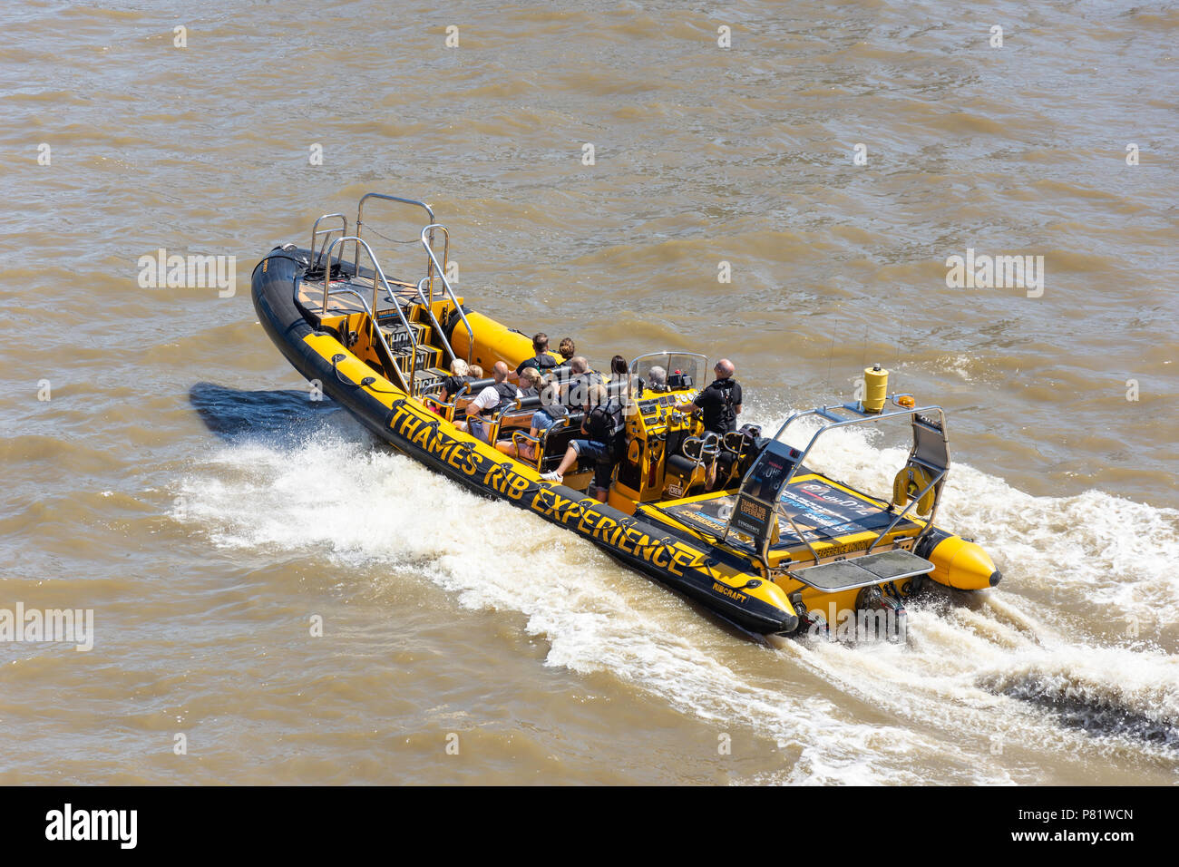 Thames Rib Experience power boat ride on River Thames at South Bank, London Borough of Lambeth, Greater London, England, United Kingdom - Stock Image