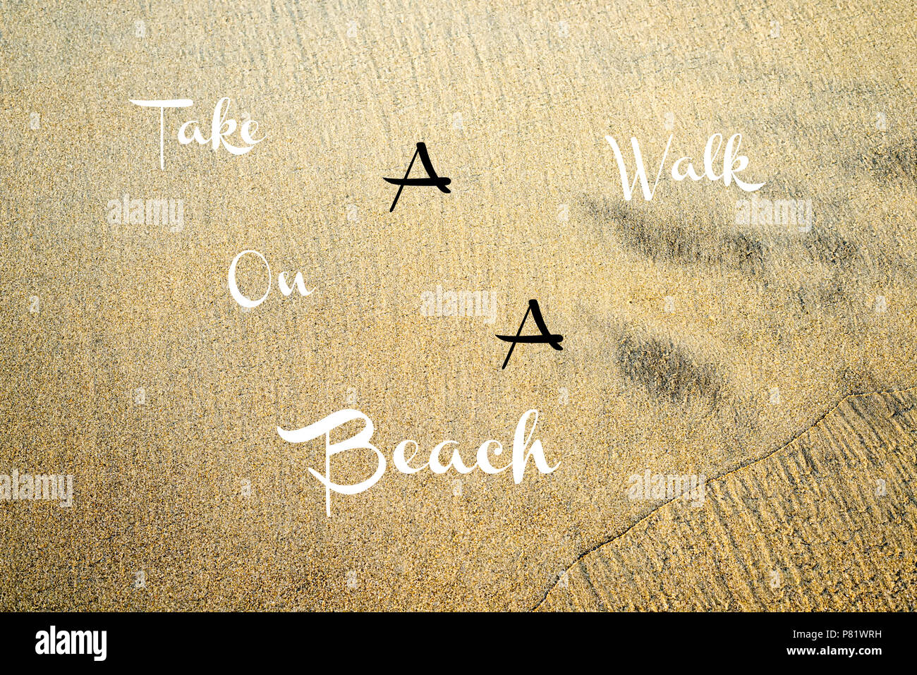 Words (typography) placed on a photograph background of a California beach. - Stock Image