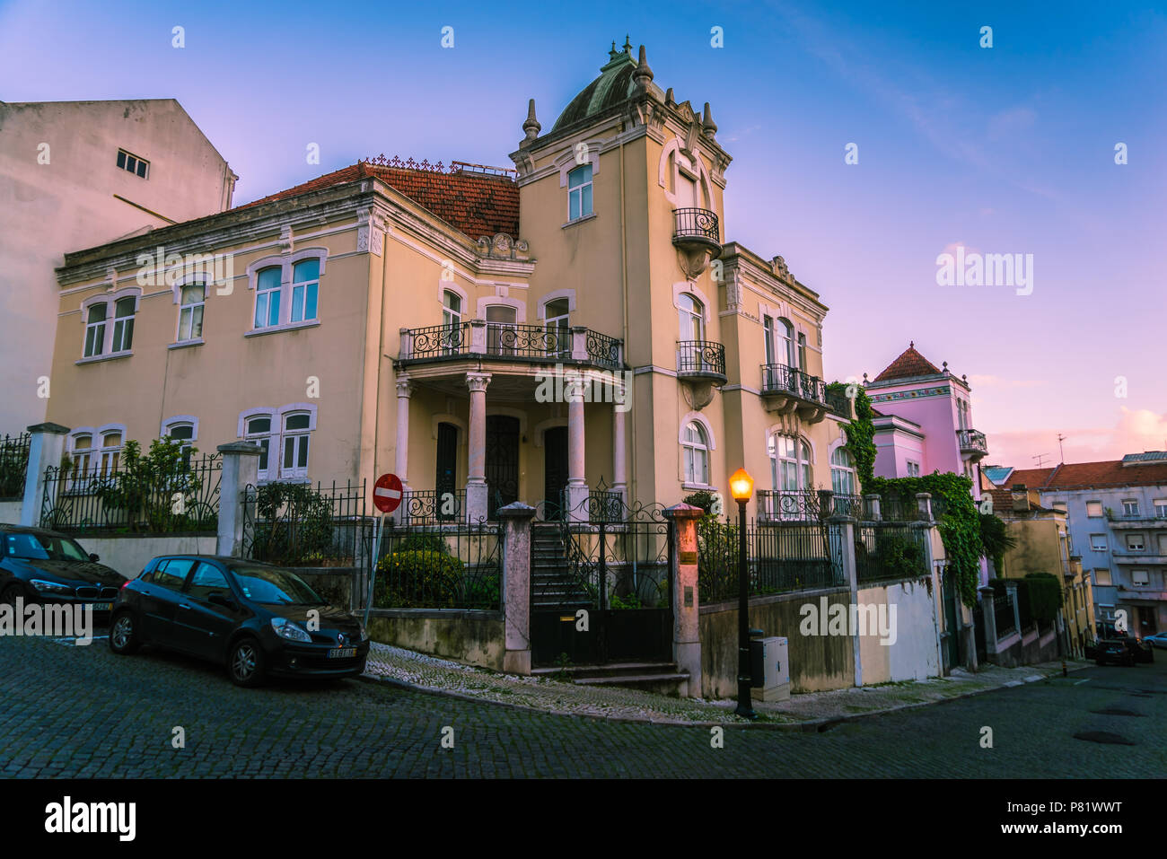 Lisbon, Portugal, luxury villa in the Lapa area - Stock Image
