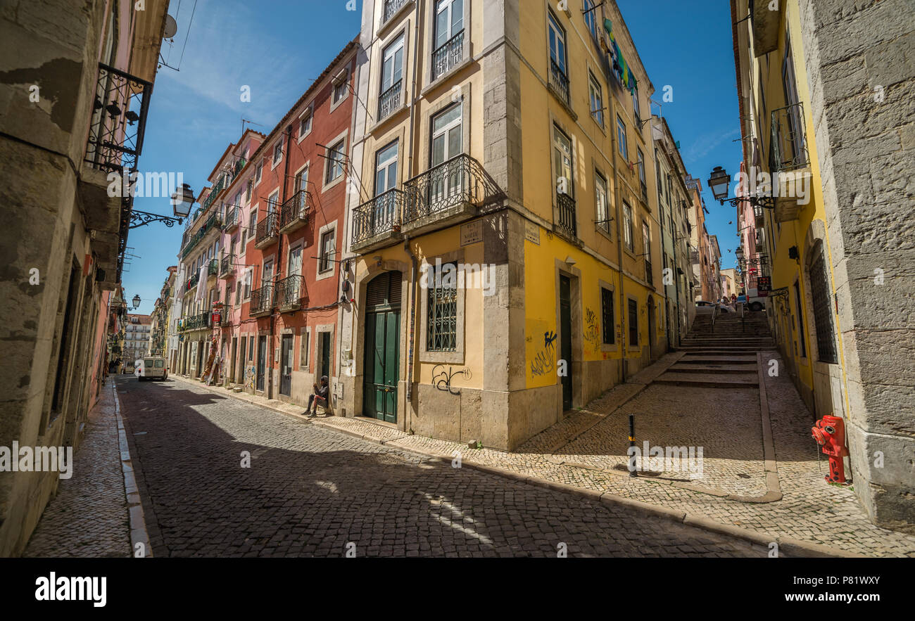 Lisbon, Portugal, street in Bairro Alto district - Stock Image