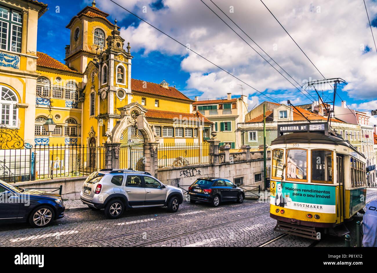 Lisbon, Portugal, famous tram - Stock Image