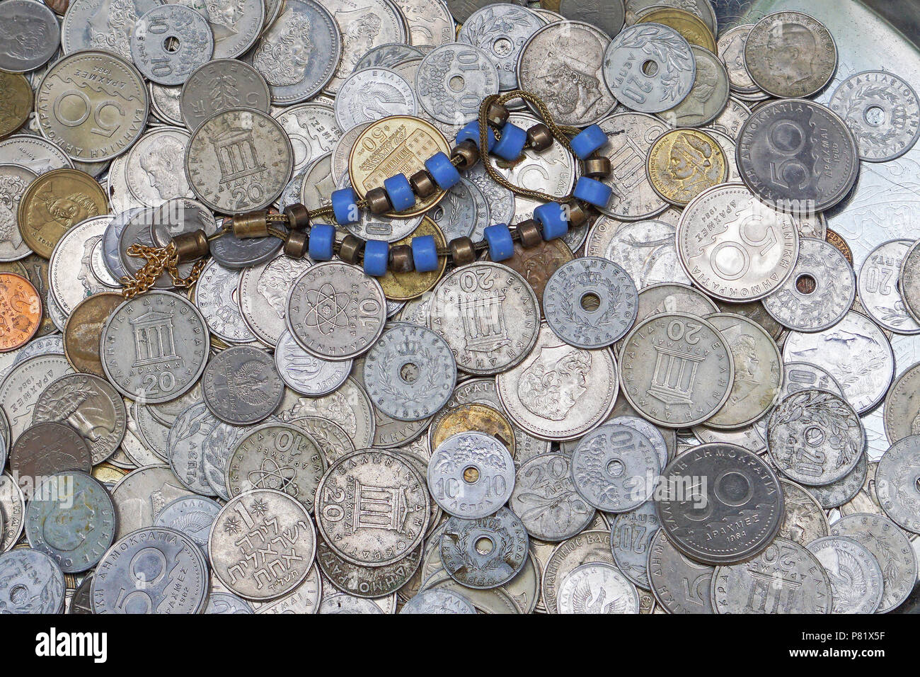 Bunch of Greek drachma coins money - Stock Image