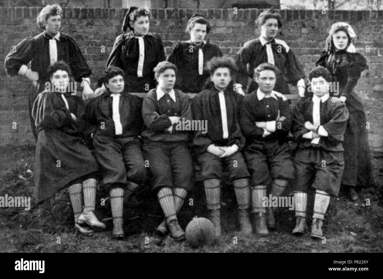 English: The British Ladies Football Club North Team - Mrs Graham's XI was a women's football (soccer) team formed by Helen Matthews in Edinburgh, Scotland in 1881. It is considered the first British women's football team and a pioneering team in the history of the sport. Because it was not safe for women to play football without harassment, the players used pseudonyms to protect their identities. Matthews, also a goalkeeper for the team, claimed to be 'Mrs Graham' The historic information was gathered by football historian Stuart Gibbs, 47, while completing an art exhibition called Moving the Stock Photo
