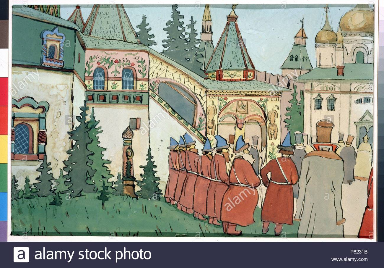 Illustration for the Fairy tale The Feather of Finist the Falcon. Museum: State Tretyakov Gallery, Moscow. - Stock Image