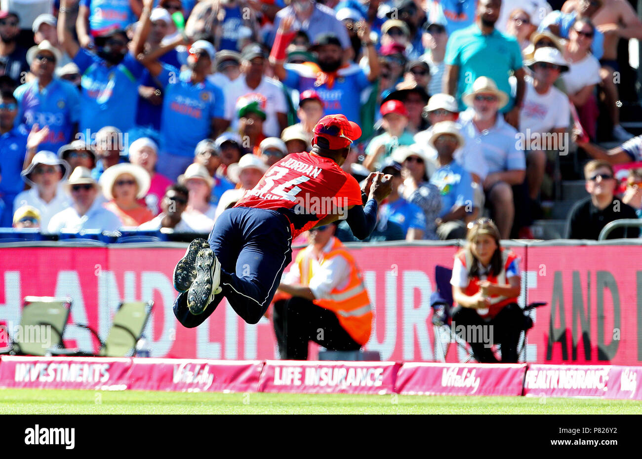 England's Chris Jordan catchesIndia's KL Rahul during the Second Vitality IT20 Series Match at the Brightside Ground, Bristol. - Stock Image