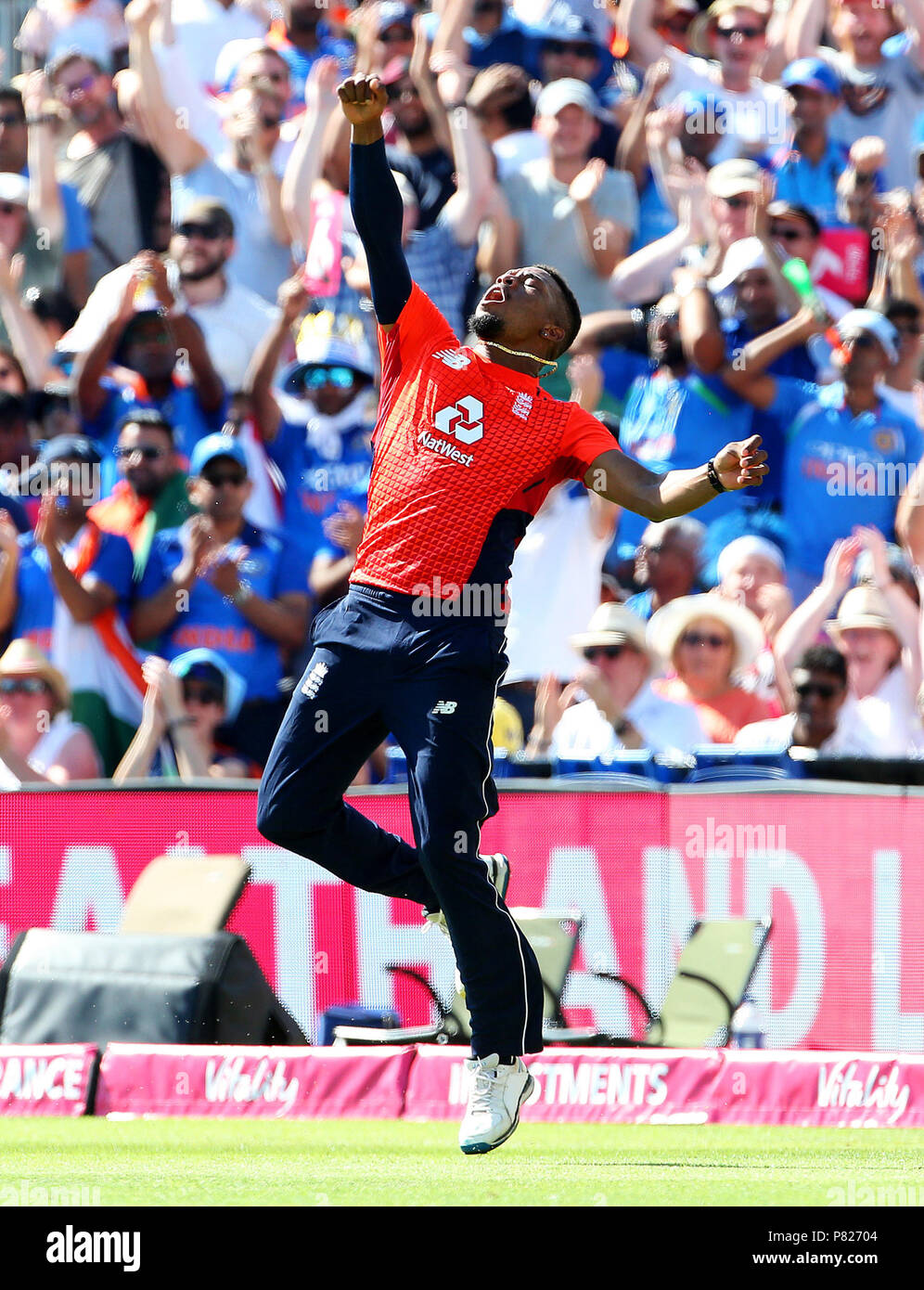 England's Chris Jordan celebrates after catching India's KL Rahul during the Second Vitality IT20 Series Match at the Brightside Ground, Bristol. - Stock Image