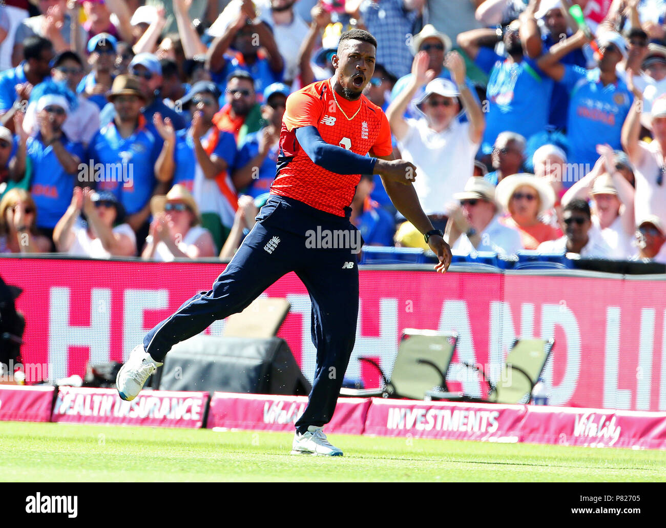 England's Chris Jordan celebrates after catching India's KL Rahul during the Second Vitality IT20 Series Match at the Brightside Ground, Bristol. Stock Photo