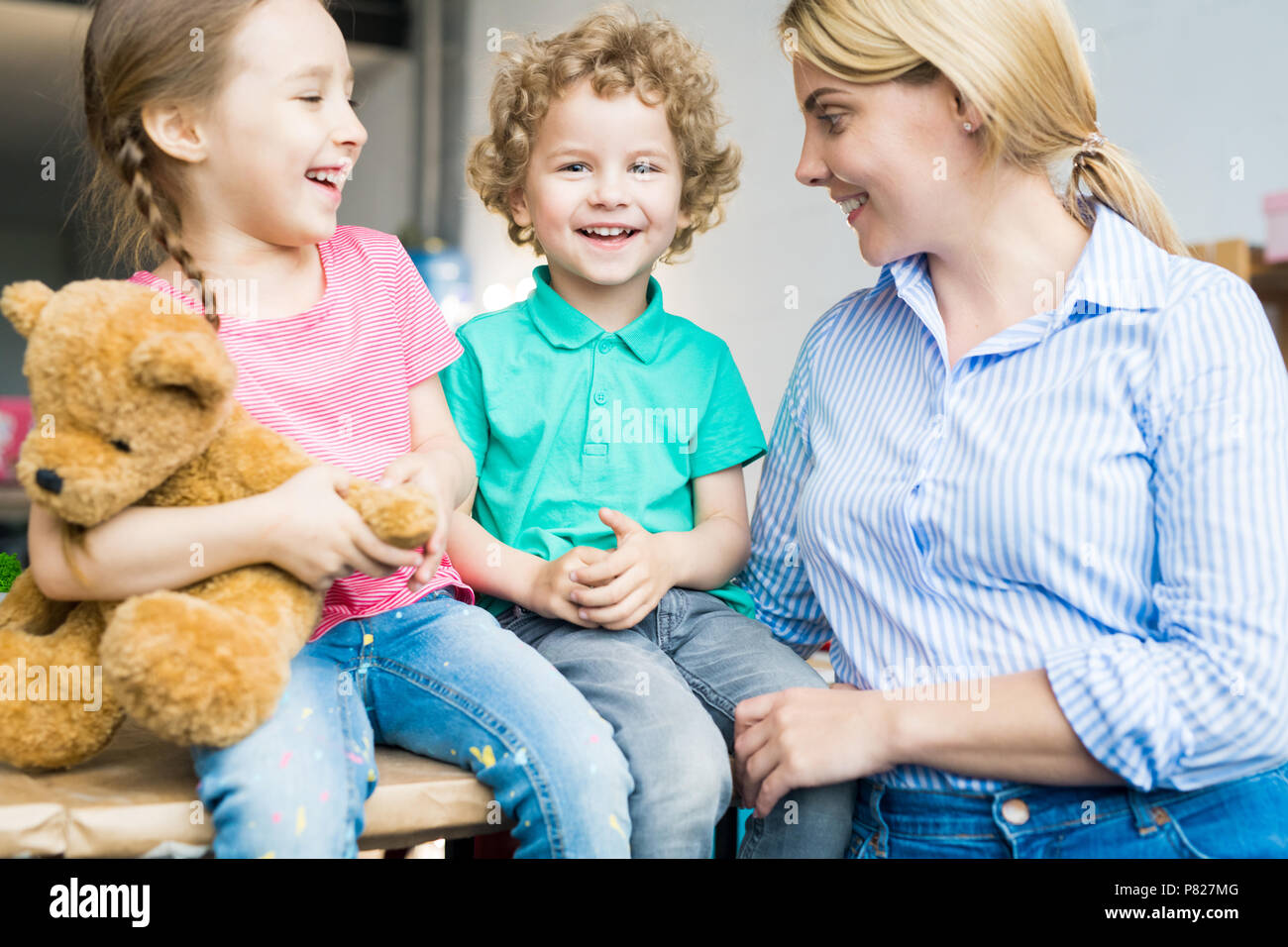 Two Children with Young Mother - Stock Image
