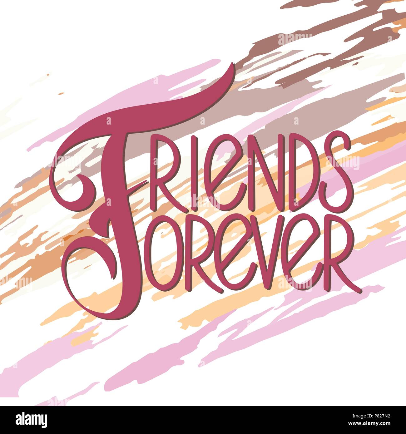 Friendship Day Hand Drawn Lettering Friends Forever Vector