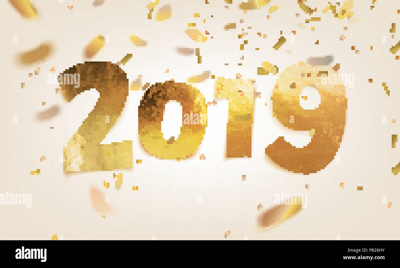 stock vector illustration 2019 happy new year shiny sparkly typeface gold leaf golden confetti isolated on white background greeting card poster