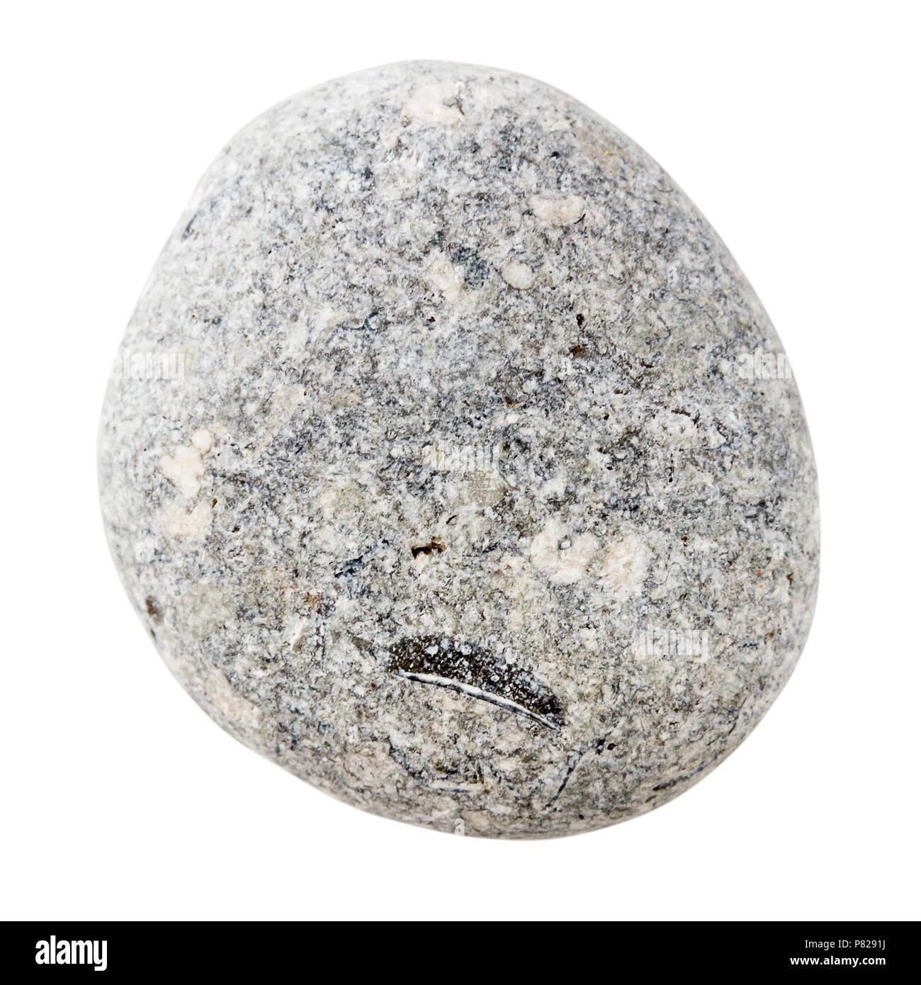 Sea Stone Isolated On White Background Gray Rounded Pebble