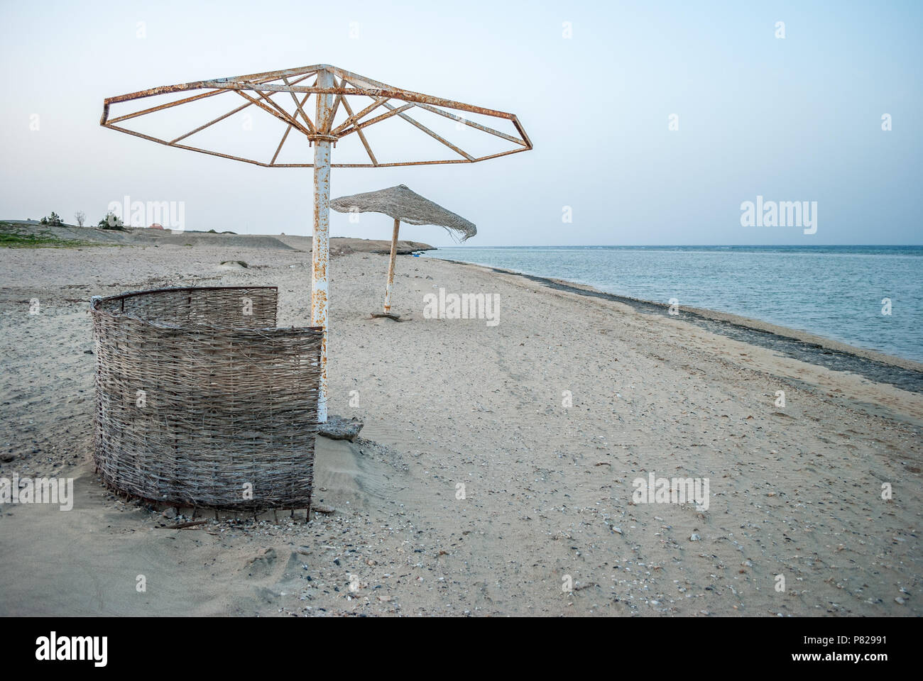 Umbrella without fabric on the beach, Red Sea, Egypt - Stock Image