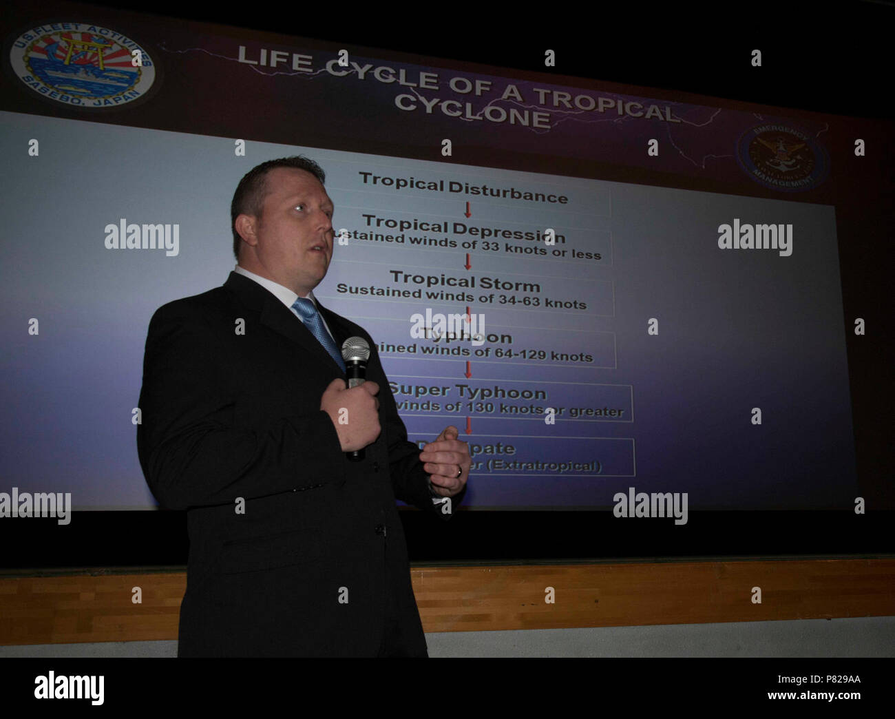 SASEBO, Japan (Apr. 18, 2016) David Johnston, Commander U.S. Fleet Activitives Sasebo emergency management officer, gives a typhoon readiness standdown presentation onboard CFAS Apr. 19, 2016. Stock Photo