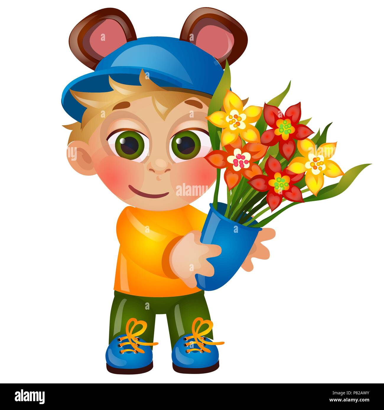A little happy animated boy with eared hat holding a bouquet of a little happy animated boy with eared hat holding a bouquet of blooming flowers isolated on white background vector cartoon close up illustration izmirmasajfo