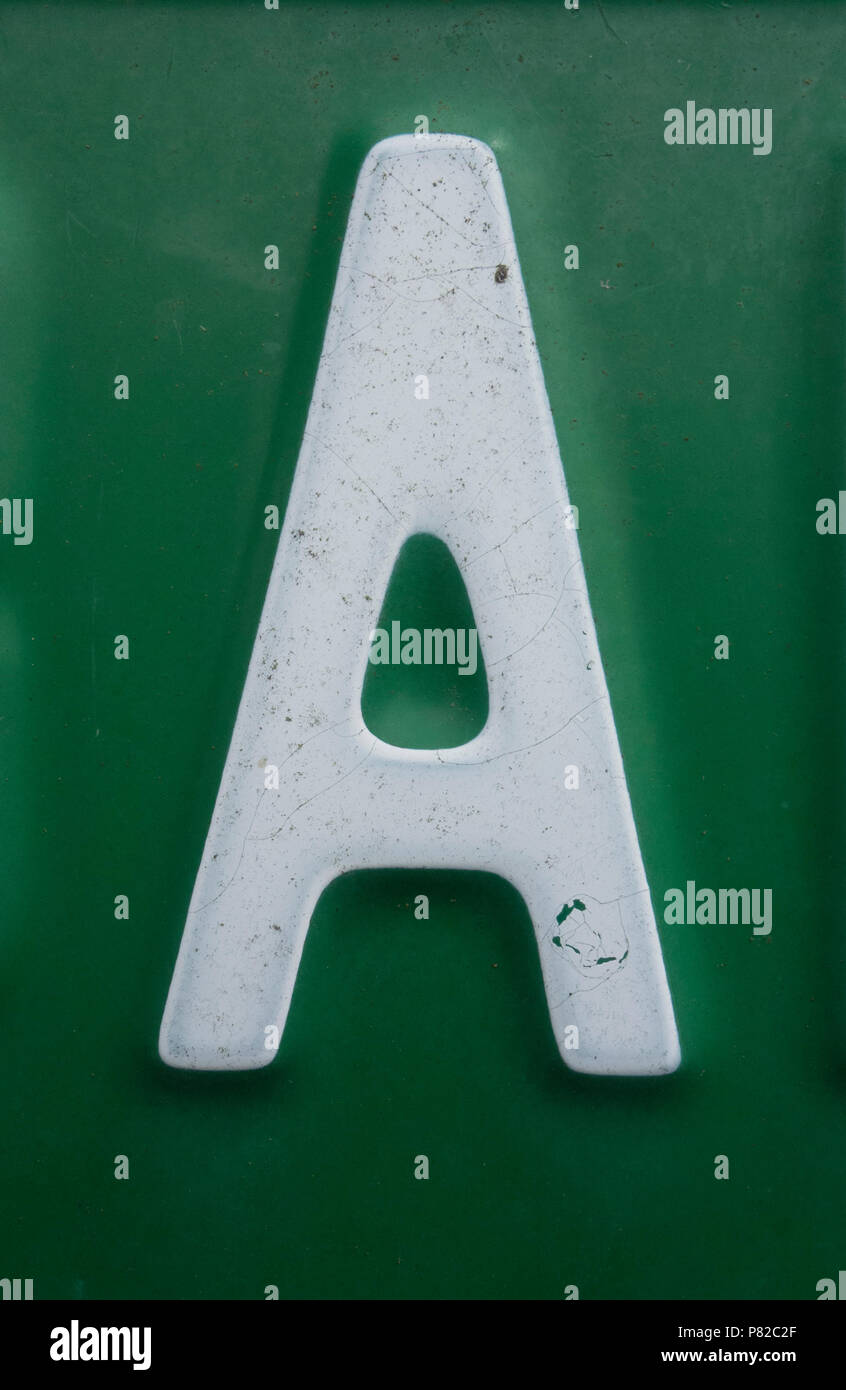 Written Wording in Distressed State Typography Found Letter A - Stock Image