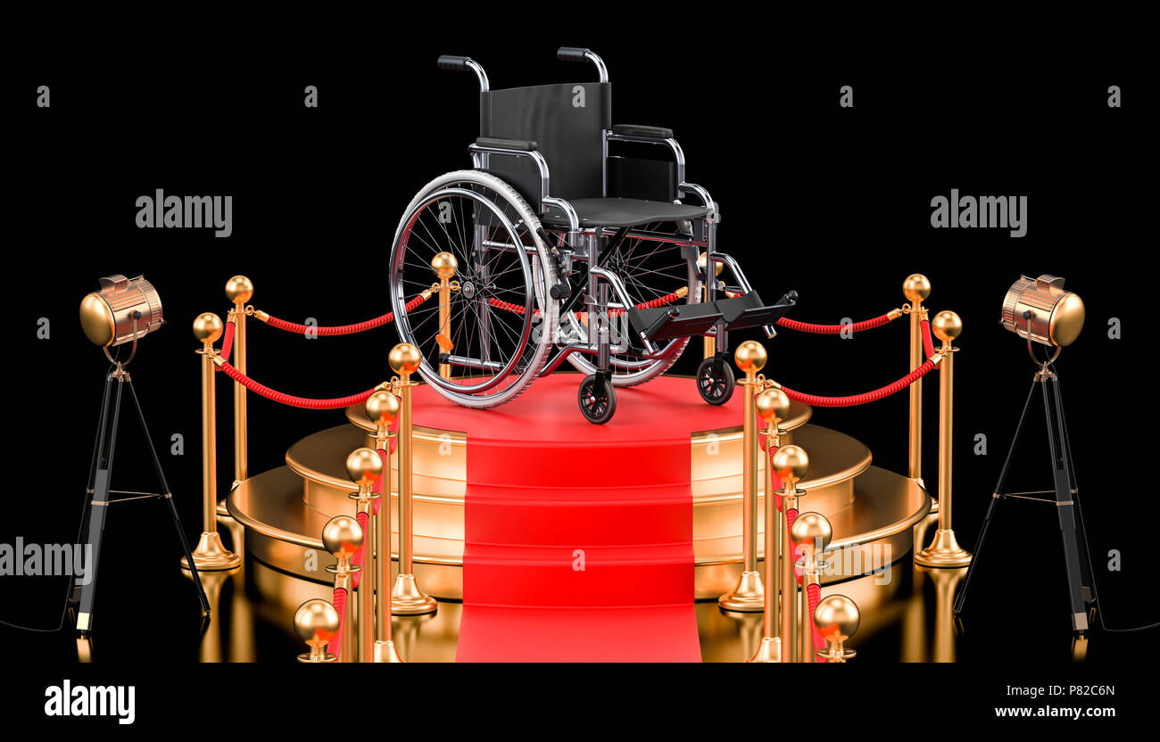 Podium with wheelchair, 3D rendering isolated on black background - Stock Image