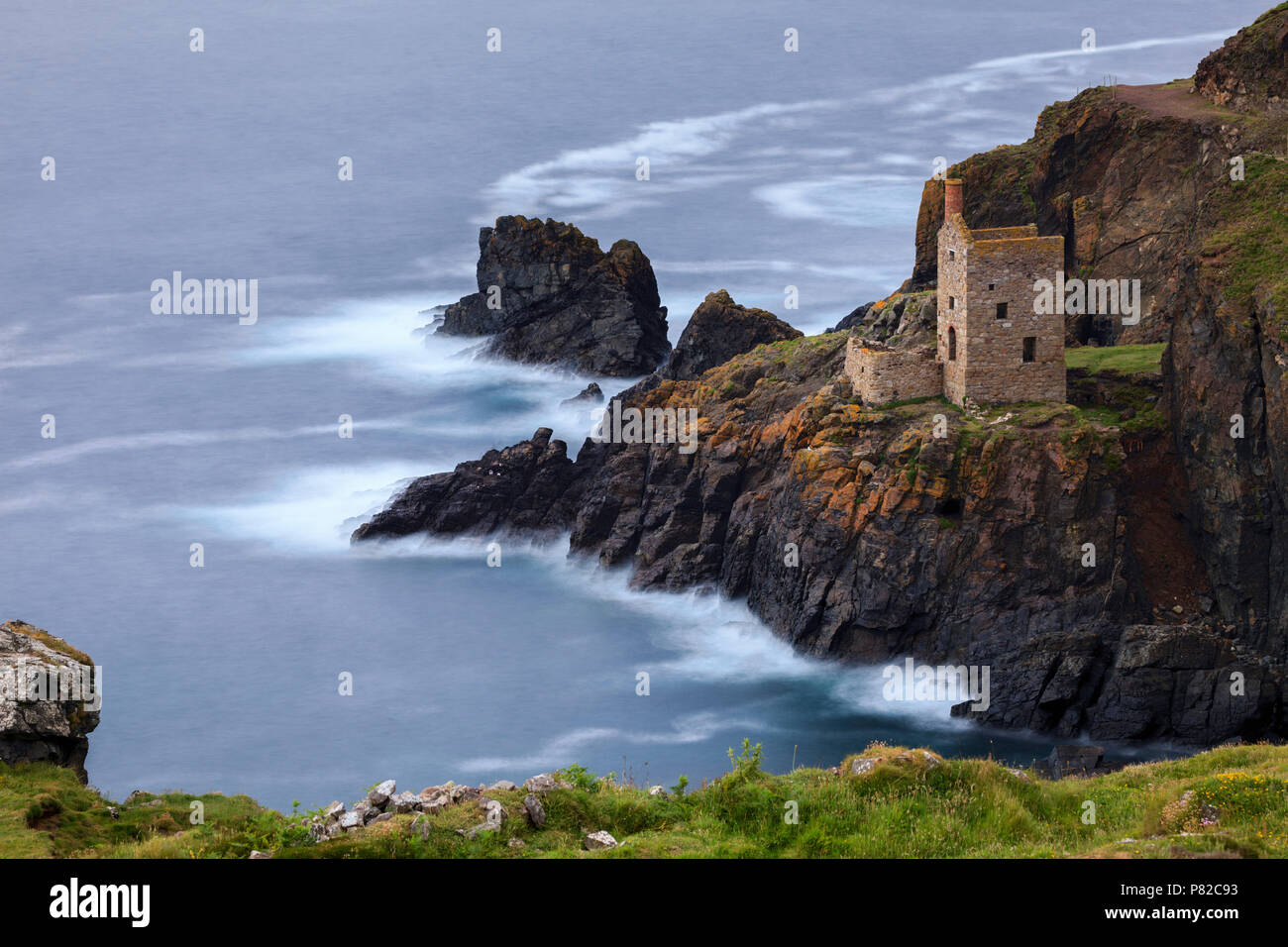 The Crown Mines at Botallack in Cornwall. - Stock Image