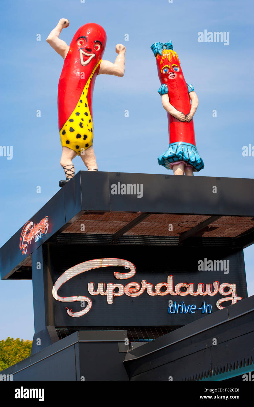 Superdawg Hot Dog drive-in, Chicago, Illinois - Stock Image