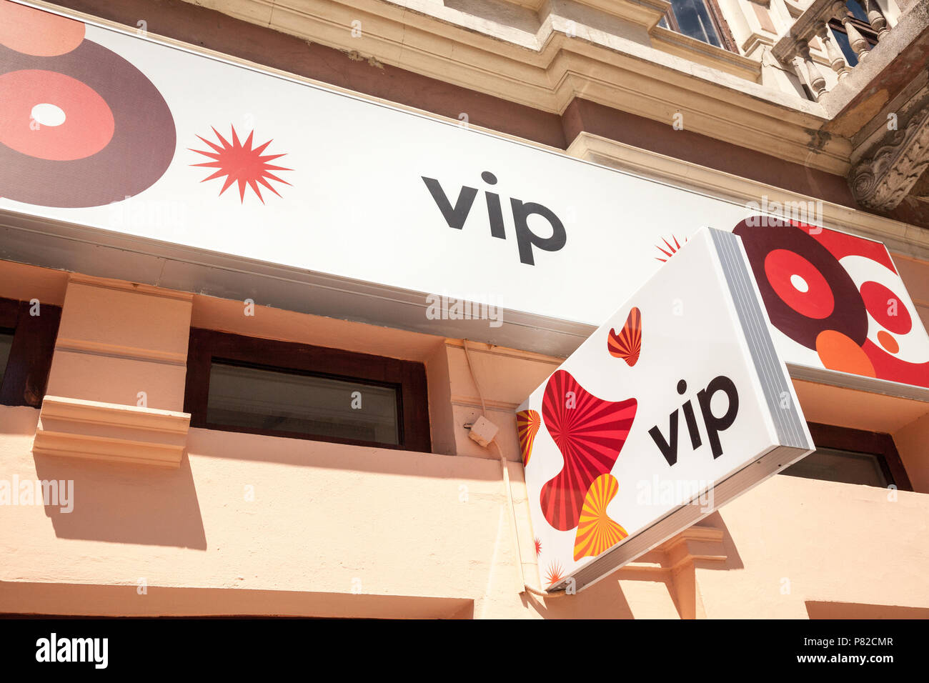 SUBOTICA, SERBIA - JULY 2, 2018: Vipnet Logo on their main shop in Subotica Vip Mobile, or Vipnet, is one of the main mobile network operator in Serbi - Stock Image